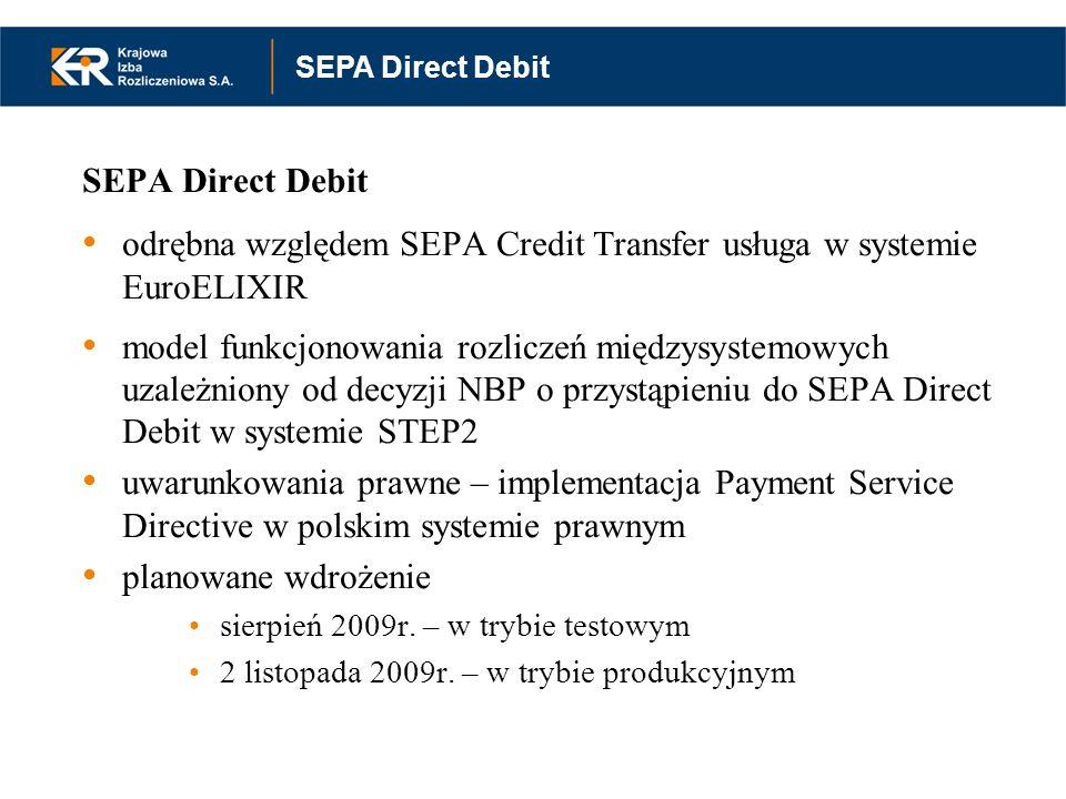 SEPA Direct Debit odrębna względem SEPA Credit Transfer usługa w systemie EuroELIXIR model funkcjonowania rozliczeń międzysystemowych uzależniony od d