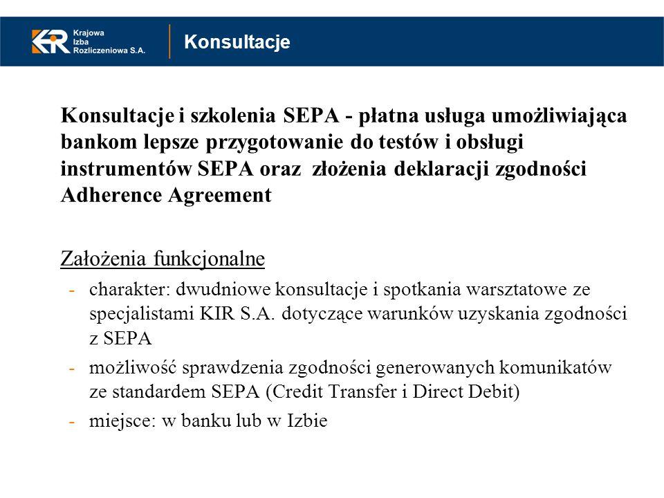 Konsultacje i szkolenia SEPA - płatna usługa umożliwiająca bankom lepsze przygotowanie do testów i obsługi instrumentów SEPA oraz złożenia deklaracji