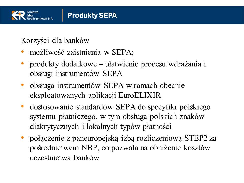 Korzyści dla banków możliwość zaistnienia w SEPA; produkty dodatkowe – ułatwienie procesu wdrażania i obsługi instrumentów SEPA obsługa instrumentów S