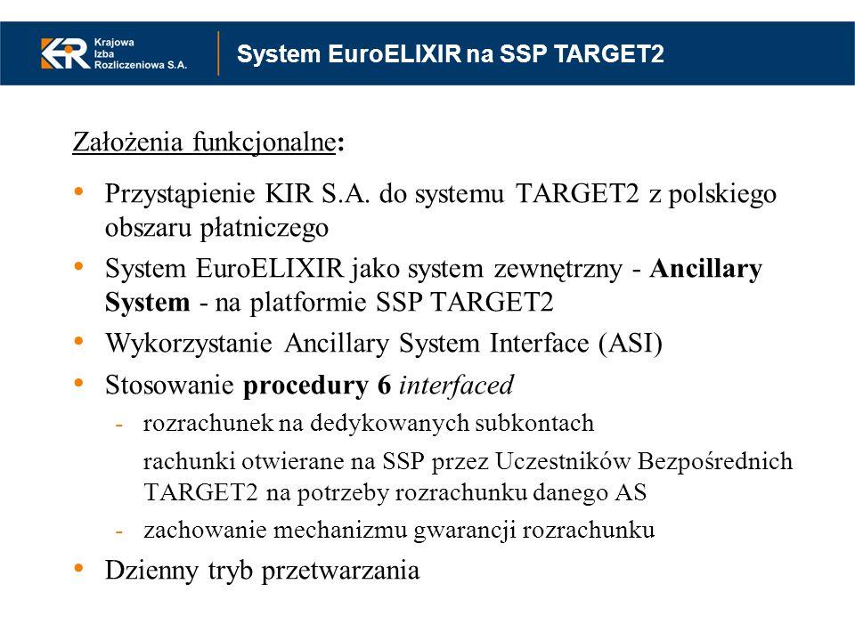 Założenia funkcjonalne: Przystąpienie KIR S.A. do systemu TARGET2 z polskiego obszaru płatniczego System EuroELIXIR jako system zewnętrzny - Ancillary