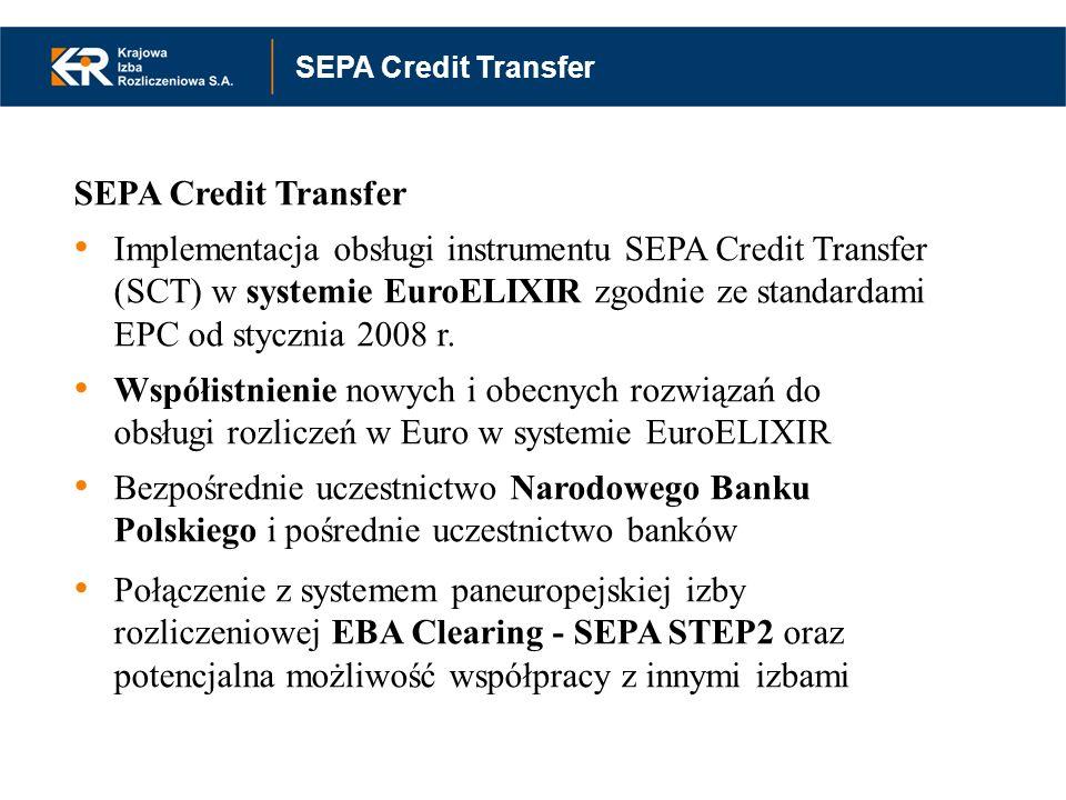 Instrumenty SEPA w systemie EuroELIXIR założenia funkcjonalne SEPA Credit Transfer Implementacja obsługi instrumentu SEPA Credit Transfer (SCT) w syst