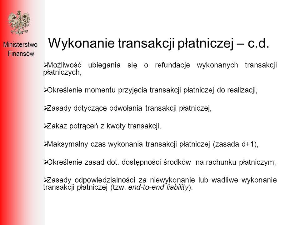 Najważniejsze skutki PSD dla polskiego systemu płatniczego MinisterstwoFinansów Zwiększenie konkurencji poprzez wprowadzenie nowej kategorii podmiotów świadczących usługi płatnicze, Nowa umowa nazwana – umowa o usługę płatniczą, Wymogi informacyjne dla dostawców usług płatniczych, Jednolite zasady dotyczące wykonania usługi płatniczej.