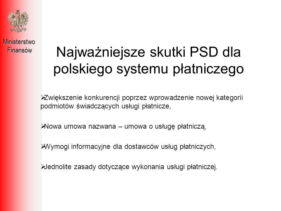 Najważniejsze skutki PSD dla polskiego systemu płatniczego MinisterstwoFinansów Zwiększenie konkurencji poprzez wprowadzenie nowej kategorii podmiotów