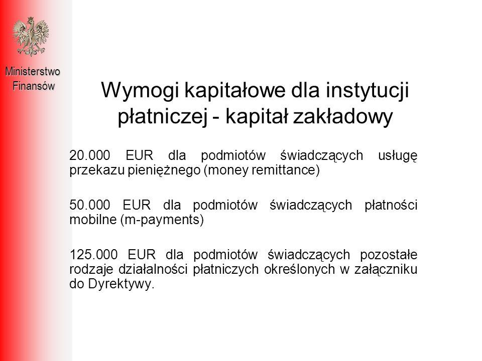 Wymogi kapitałowe dla instytucji płatniczej - kapitał zakładowy MinisterstwoFinansów 20.000 EUR dla podmiotów świadczących usługę przekazu pieniężnego