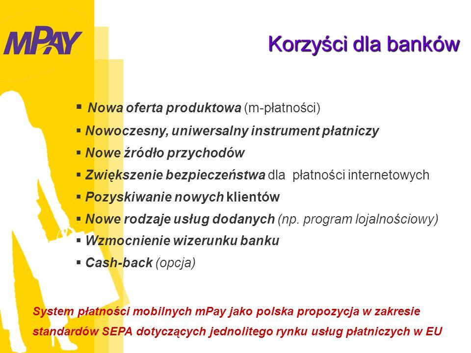 Nowa oferta produktowa (m-płatności) Nowoczesny, uniwersalny instrument płatniczy Nowe źródło przychodów Zwiększenie bezpieczeństwa dla płatności internetowych Pozyskiwanie nowych klientów Nowe rodzaje usług dodanych (np.