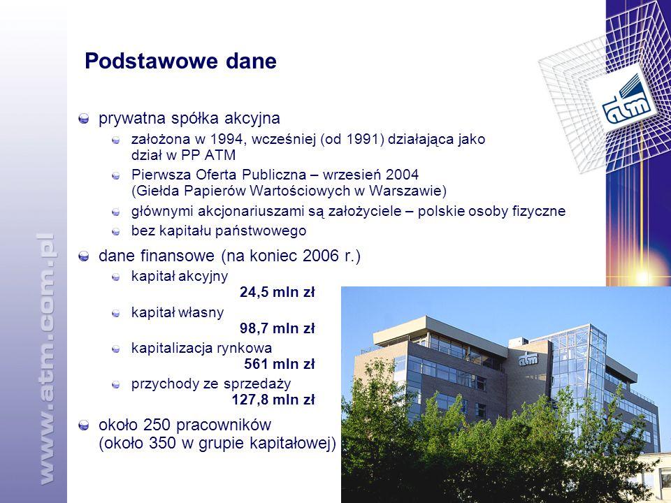 14 Podstawowe dane prywatna spółka akcyjna założona w 1994, wcześniej (od 1991) działająca jako dział w PP ATM Pierwsza Oferta Publiczna – wrzesień 2004 (Giełda Papierów Wartościowych w Warszawie) głównymi akcjonariuszami są założyciele – polskie osoby fizyczne bez kapitału państwowego dane finansowe (na koniec 2006 r.) kapitał akcyjny 24,5 mln zł kapitał własny 98,7 mln zł kapitalizacja rynkowa 561 mln zł przychody ze sprzedaży 127,8 mln zł około 250 pracowników (około 350 w grupie kapitałowej)
