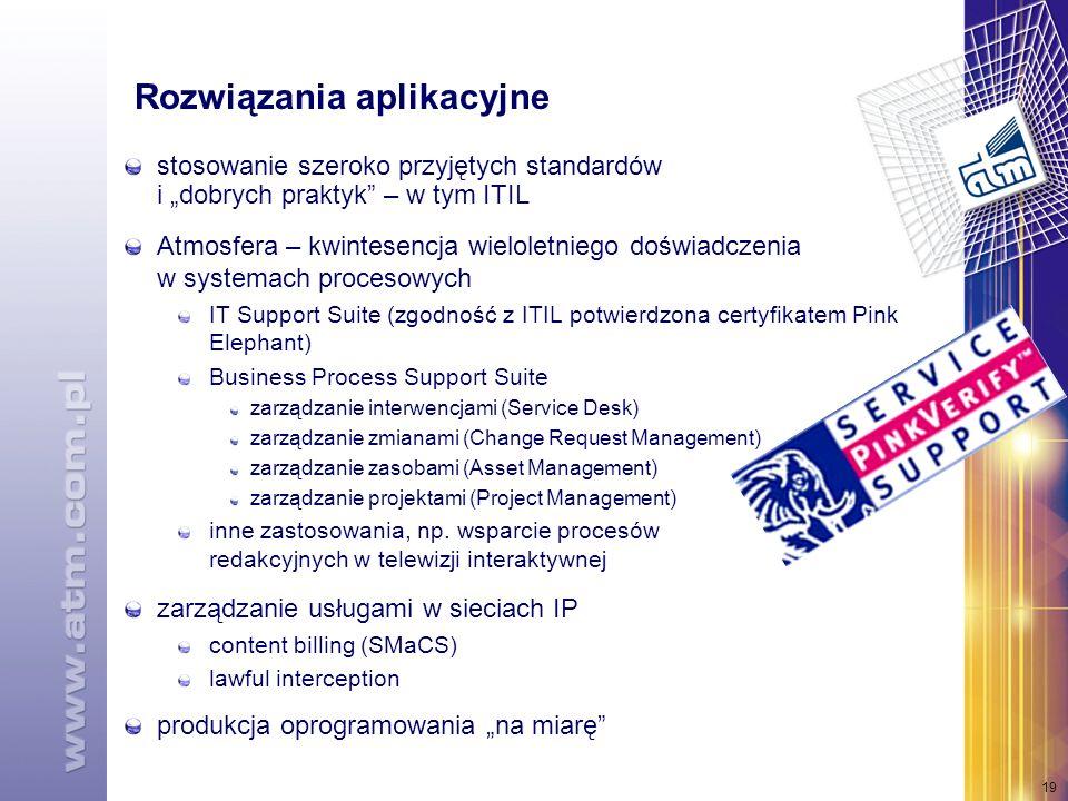 19 Rozwiązania aplikacyjne stosowanie szeroko przyjętych standardów i dobrych praktyk – w tym ITIL Atmosfera – kwintesencja wieloletniego doświadczenia w systemach procesowych IT Support Suite (zgodność z ITIL potwierdzona certyfikatem Pink Elephant) Business Process Support Suite zarządzanie interwencjami (Service Desk) zarządzanie zmianami (Change Request Management) zarządzanie zasobami (Asset Management) zarządzanie projektami (Project Management) inne zastosowania, np.