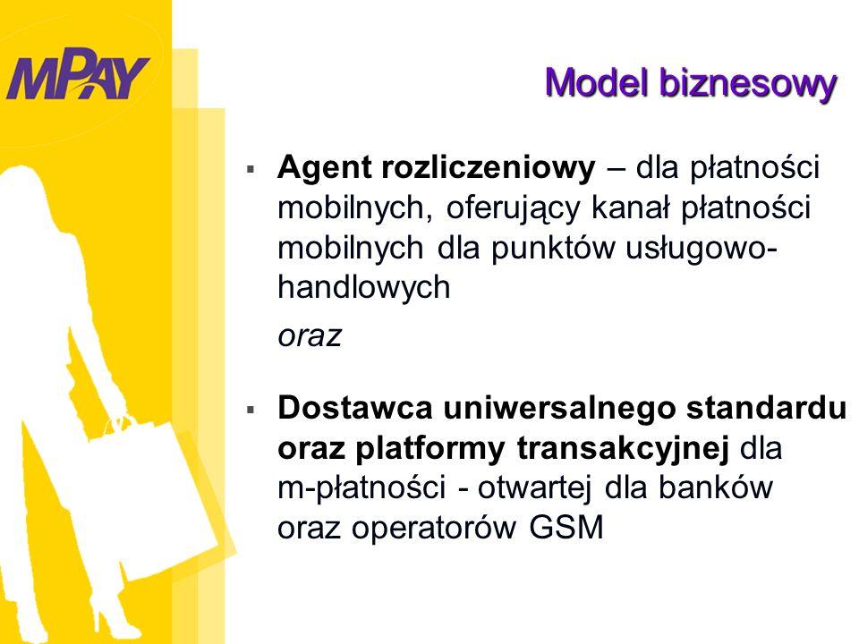 Model biznesowy Agent rozliczeniowy – dla płatności mobilnych, oferujący kanał płatności mobilnych dla punktów usługowo- handlowych oraz Dostawca uniwersalnego standardu oraz platformy transakcyjnej dla m-płatności - otwartej dla banków oraz operatorów GSM