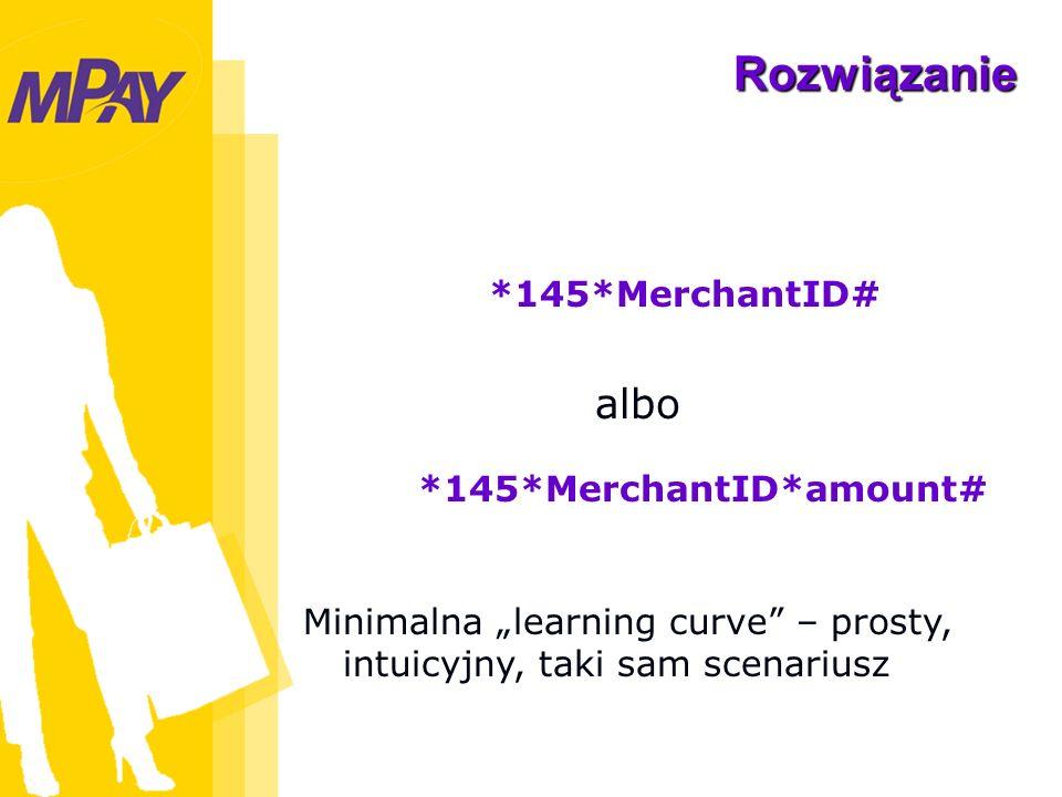 Rozwiązanie mPay Minimalna learning curve – prosty, intuicyjny, taki sam scenariusz *145*MerchantID# *145*MerchantID*amount# albo