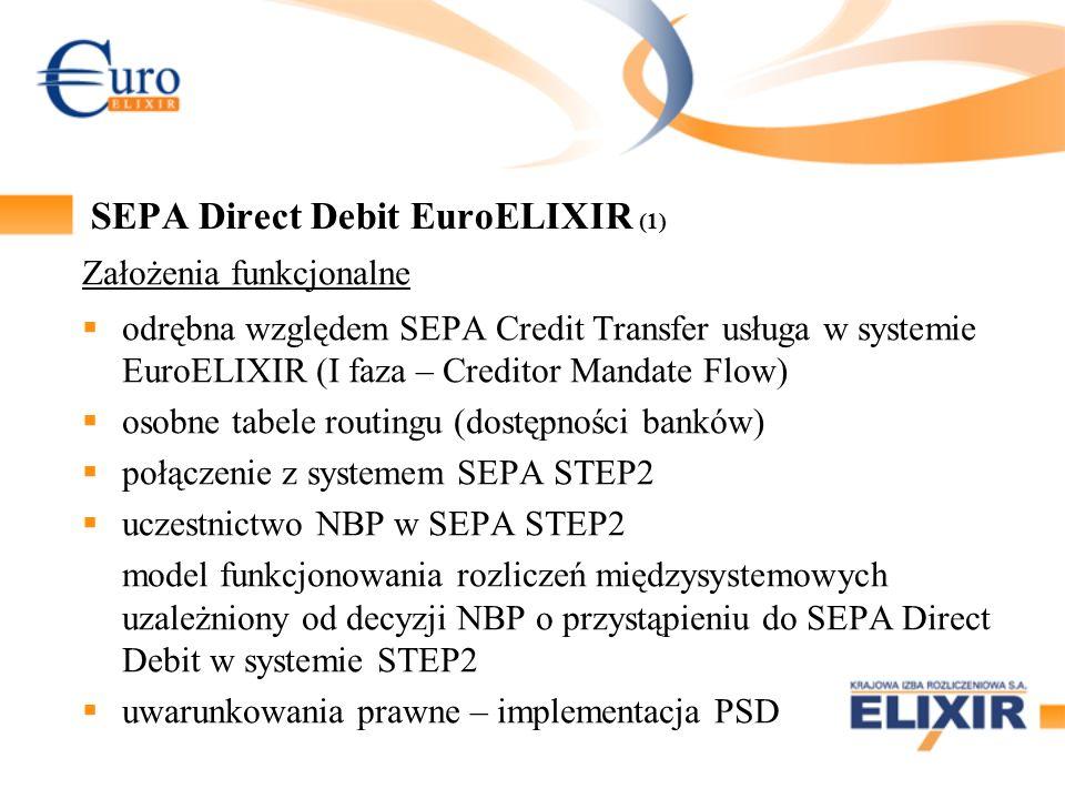 SEPA Direct Debit EuroELIXIR (1) Założenia funkcjonalne odrębna względem SEPA Credit Transfer usługa w systemie EuroELIXIR (I faza – Creditor Mandate