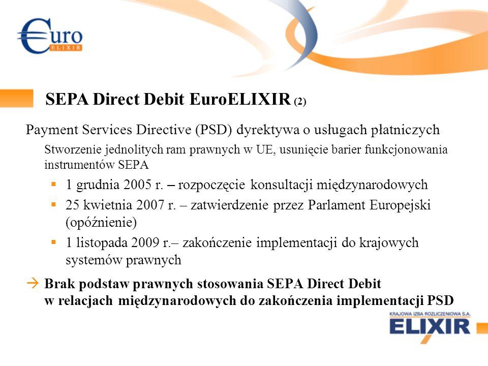 Payment Services Directive (PSD) dyrektywa o usługach płatniczych Stworzenie jednolitych ram prawnych w UE, usunięcie barier funkcjonowania instrument