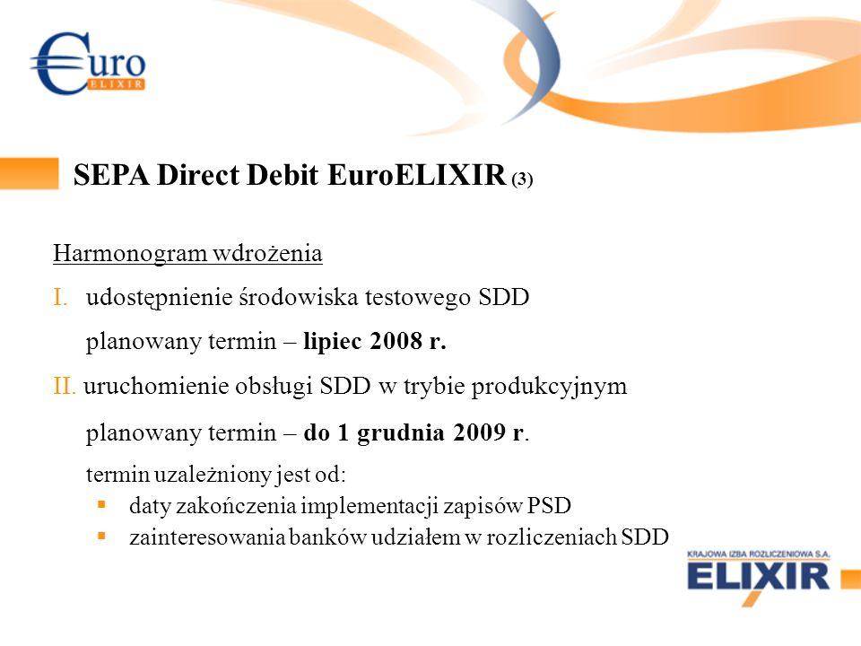 Harmonogram wdrożenia I.udostępnienie środowiska testowego SDD planowany termin – lipiec 2008 r. II. uruchomienie obsługi SDD w trybie produkcyjnym pl
