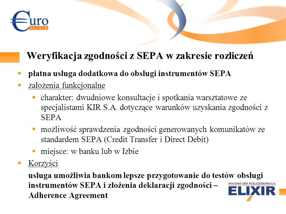 Weryfikacja zgodności z SEPA w zakresie rozliczeń płatna usługa dodatkowa do obsługi instrumentów SEPA założenia funkcjonalne charakter: dwudniowe kon