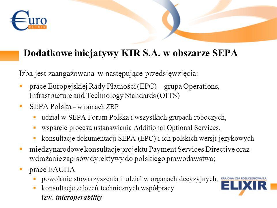 Dodatkowe inicjatywy KIR S.A. w obszarze SEPA Izba jest zaangażowana w następujące przedsięwzięcia: prace Europejskiej Rady Płatności (EPC) – grupa Op