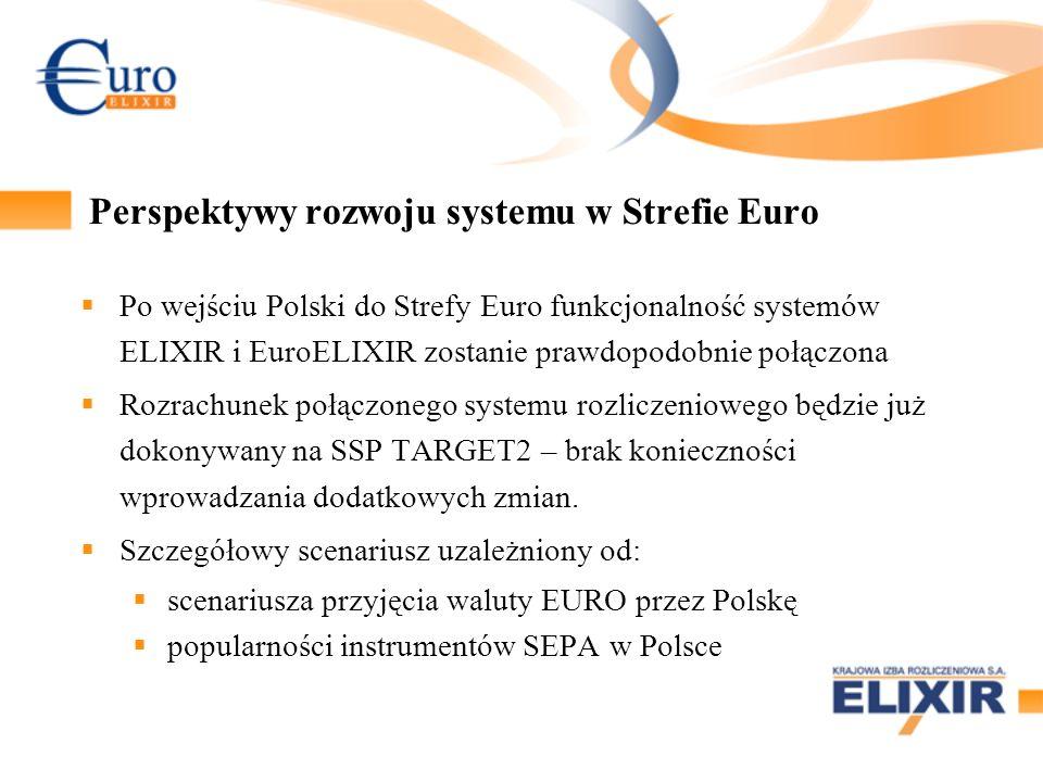 Perspektywy rozwoju systemu w Strefie Euro Po wejściu Polski do Strefy Euro funkcjonalność systemów ELIXIR i EuroELIXIR zostanie prawdopodobnie połącz