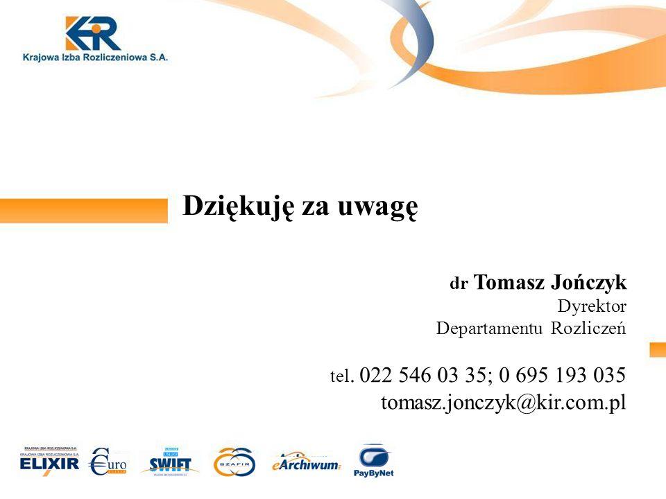 Dziękuję za uwagę dr Tomasz Jończyk Dyrektor Departamentu Rozliczeń tel. 022 546 03 35; 0 695 193 035 tomasz.jonczyk@kir.com.pl