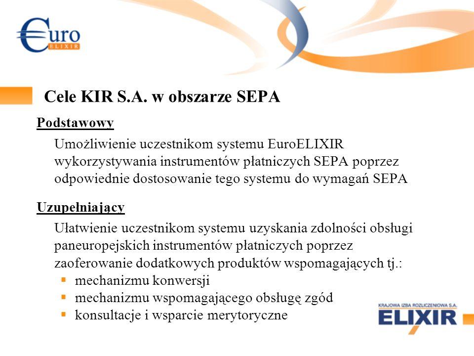 Korzyści dla banków możliwość zaistnienia banku w SEPA od początku jego funkcjonowania obsługa instrumentów SEPA w ramach obecnie eksploatowanych aplikacji EuroELIXIR dostosowanie standardów SEPA do specyfiki polskiego systemu płatniczego, w tym obsługa polskich znaków diakrytycznych i lokalnych typów płatności połączenie z paneuropejską izbą rozliczeniową STEP2 za pośrednictwem NBP, co pozwala na obniżenie kosztów uczestnictwa banków produkty dodatkowe – ułatwienie procesu wdrażania i obsługi instrumentów SEPA