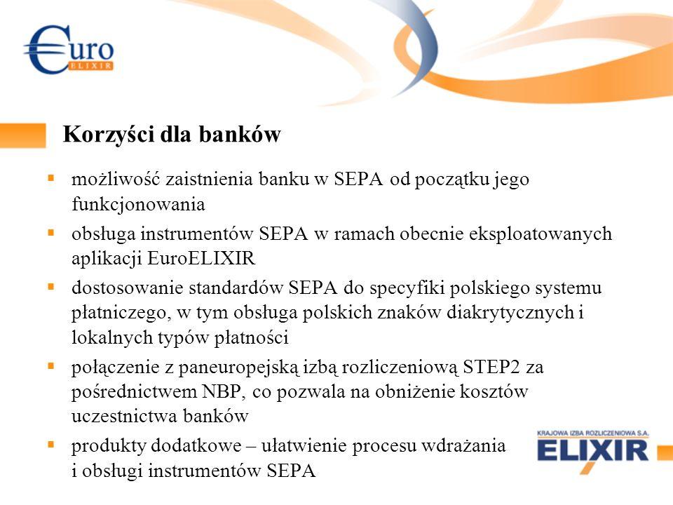 Instrumenty SEPA w systemie EuroELIXIR założenia funkcjonalne Implementacja obsługi SEPA Credit Transfer (SCT) i SEPA Direct Debit (SDD), zgodnie ze standardami EPC Współistnienie nowych i obecnych rozwiązań: dodatkowe komunikaty w systemie EuroELIXIR osobne tabele routingu (dostępności banków) łączne sesje rozliczeniowe (MT + SEPA) Połączenie z systemem EBA Clearing - SEPA STEP2 brak kategorii entry-point).