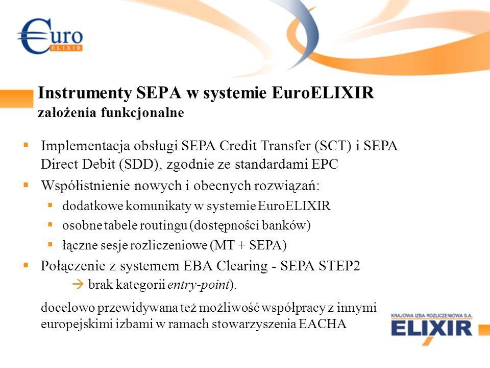 Instrumenty SEPA w systemie EuroELIXIR założenia funkcjonalne Implementacja obsługi SEPA Credit Transfer (SCT) i SEPA Direct Debit (SDD), zgodnie ze s