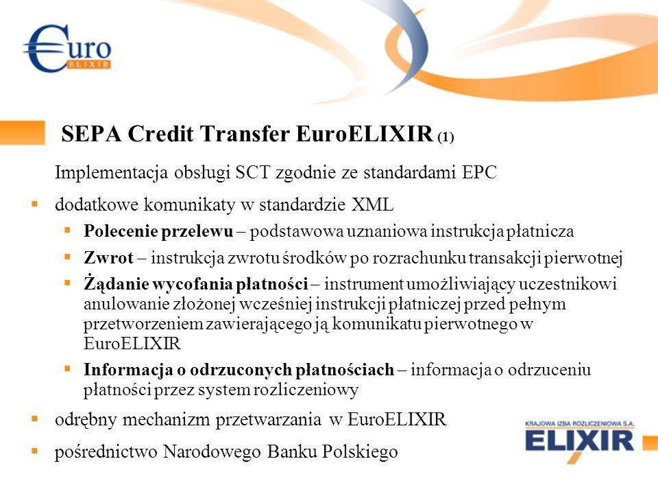 SEPA Credit Transfer EuroELIXIR (2) SCT i MT SCT MT SCT XML Zwrot XML niezależne tabele uczestników SCT EE względem MT103+ odrębne tabele uczestników SEPA Direct Debit EE MT Zwrot MT