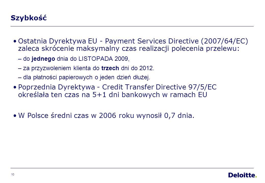 10 Szybkość Ostatnia Dyrektywa EU - Payment Services Directive (2007/64/EC) zaleca skrócenie maksymalny czas realizacji polecenia przelewu: –do jednego dnia do LISTOPADA 2009, –za przyzwoleniem klienta do trzech dni do 2012.