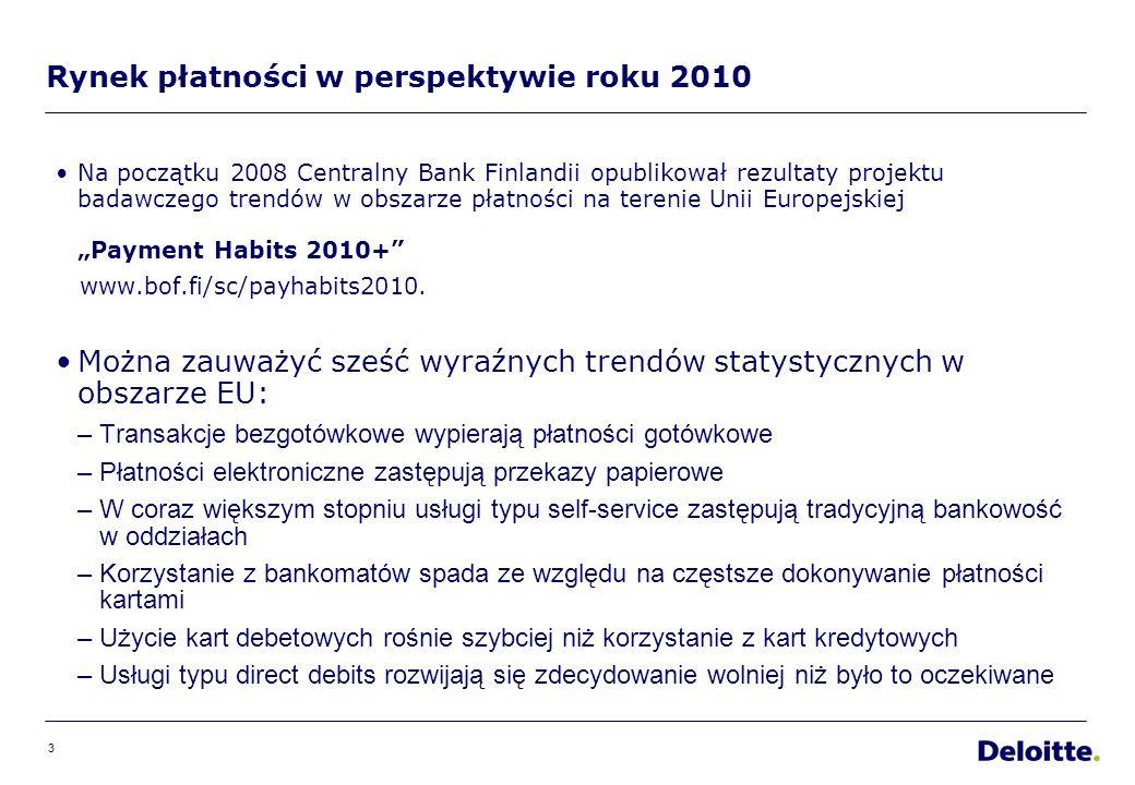 3 Rynek płatności w perspektywie roku 2010 Na początku 2008 Centralny Bank Finlandii opublikował rezultaty projektu badawczego trendów w obszarze płatności na terenie Unii EuropejskiejPayment Habits 2010+ www.bof.fi/sc/payhabits2010.