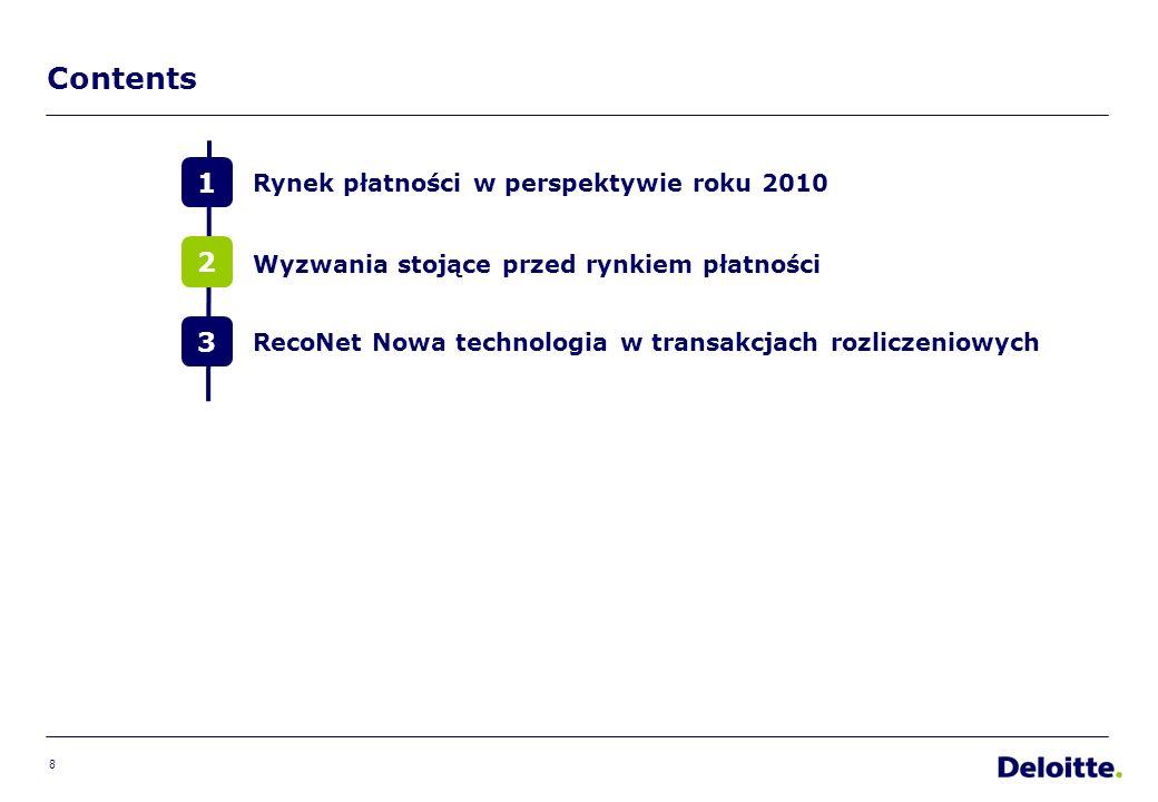 8 Contents 1 2 3 Rynek płatności w perspektywie roku 2010 RecoNet Nowa technologia w transakcjach rozliczeniowych Wyzwania stojące przed rynkiem płatności