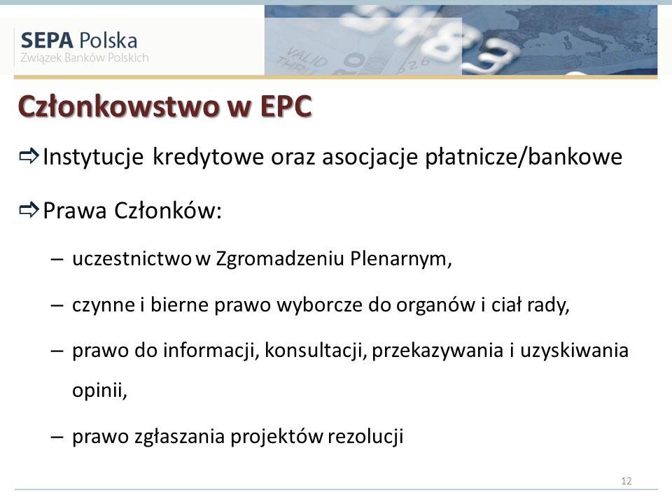 Członkowstwo w EPC Instytucje kredytowe oraz asocjacje płatnicze/bankowe Prawa Członków: – uczestnictwo w Zgromadzeniu Plenarnym, – czynne i bierne pr