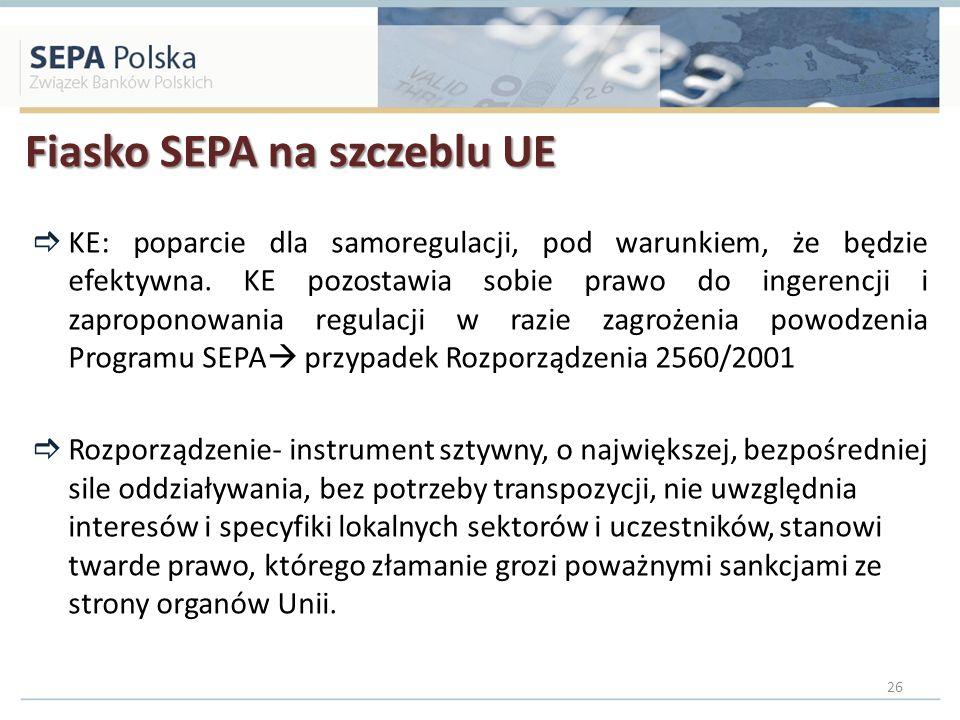 Fiasko SEPA na szczeblu UE KE: poparcie dla samoregulacji, pod warunkiem, że będzie efektywna. KE pozostawia sobie prawo do ingerencji i zaproponowani