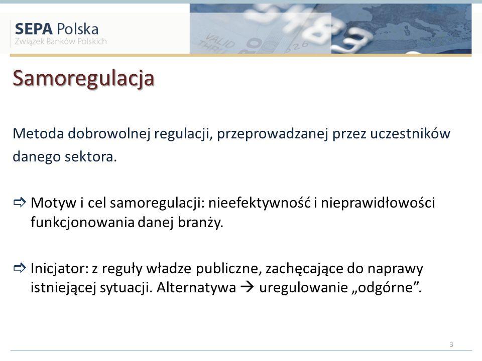 Samoregulacja Metoda dobrowolnej regulacji, przeprowadzanej przez uczestników danego sektora. Motyw i cel samoregulacji: nieefektywność i nieprawidłow