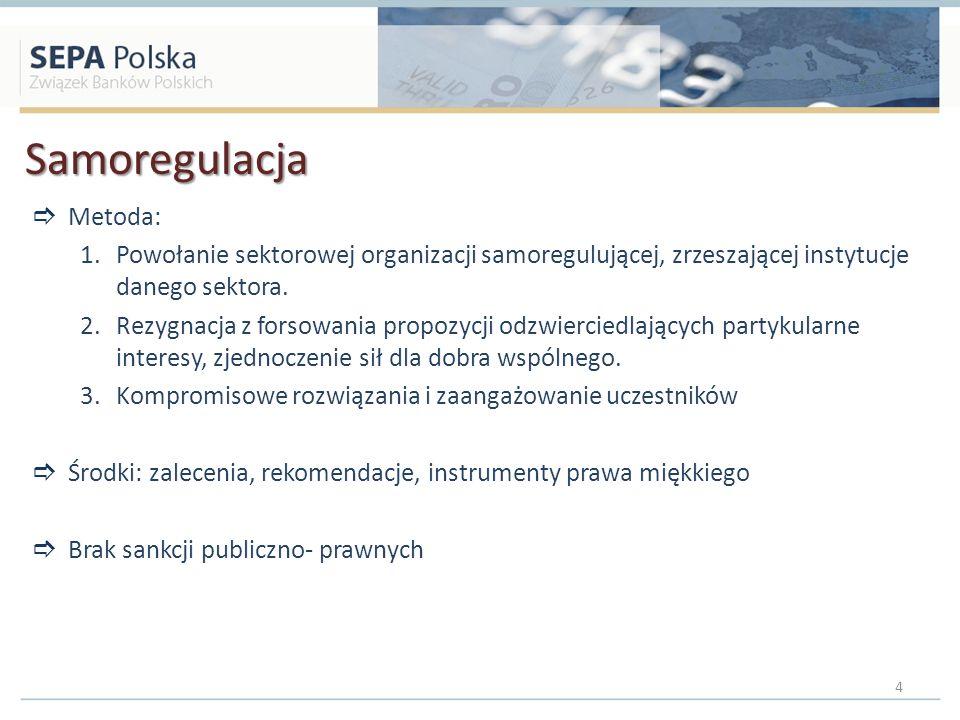 Samoregulacja Metoda: 1.Powołanie sektorowej organizacji samoregulującej, zrzeszającej instytucje danego sektora. 2.Rezygnacja z forsowania propozycji