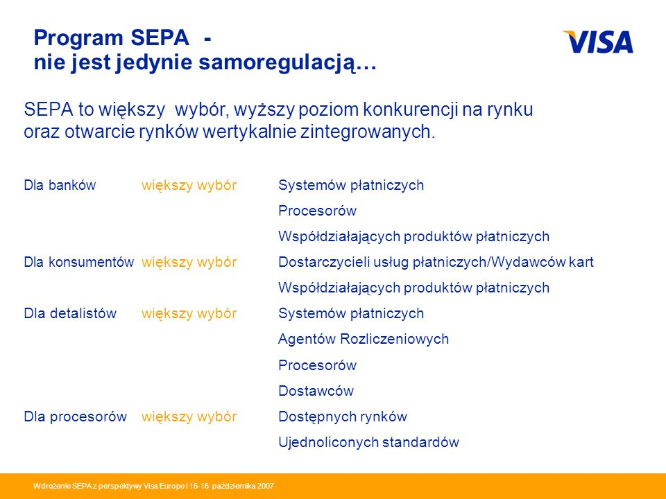 Presentation Identifier.3 Information Classification as Needed Wdrożenie SEPA z perspektywy Visa Europe I 15-16 października 2007 Program SEPA - nie j