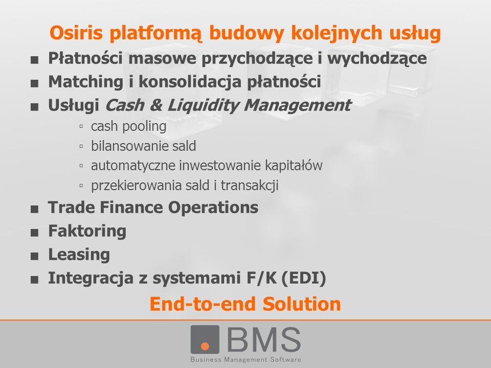 Płatności masowe przychodzące i wychodzące Matching i konsolidacja płatności Usługi Cash & Liquidity Management cash pooling bilansowanie sald automat