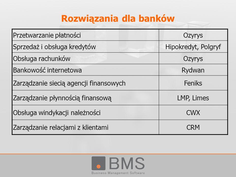 Rozwiązania dla banków Przetwarzanie płatnościOzyrys Sprzedaż i obsługa kredytówHipokredyt, Polgryf Obsługa rachunkówOzyrys Bankowość internetowaRydwa