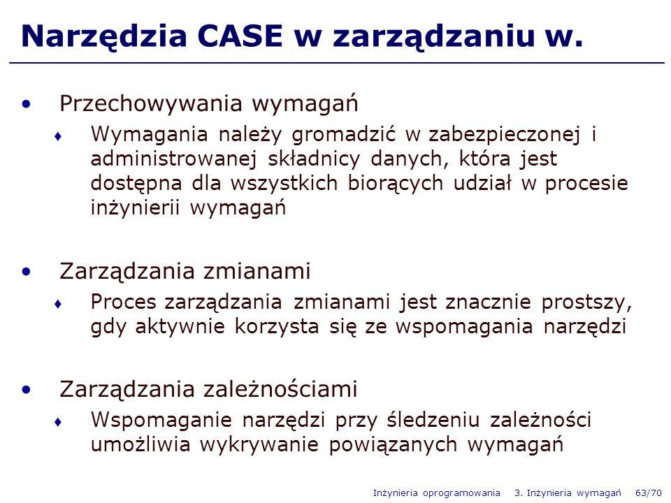 Inżynieria oprogramowania 3.Inżynieria wymagań 63/70 Narzędzia CASE w zarządzaniu w.