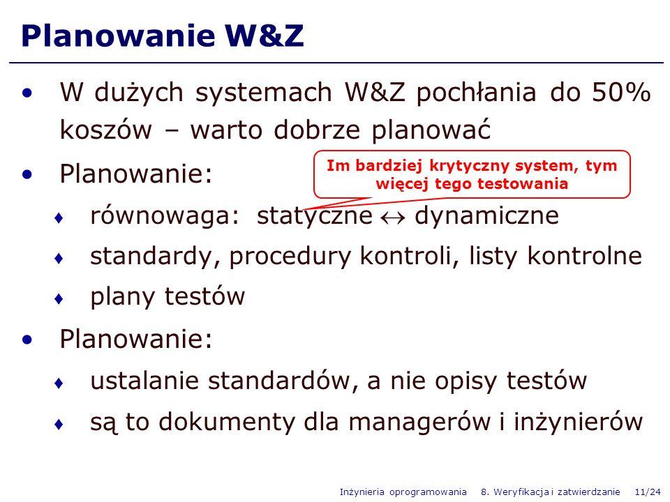 Inżynieria oprogramowania 8. Weryfikacja i zatwierdzanie 11/24 W dużych systemach W&Z pochłania do 50% koszów – warto dobrze planować Planowanie: równ