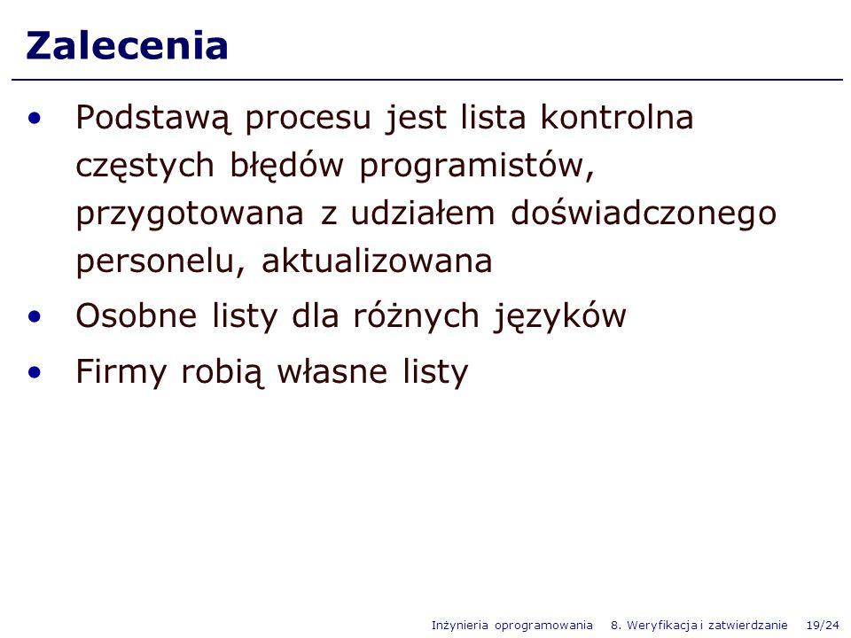 Inżynieria oprogramowania 8. Weryfikacja i zatwierdzanie 19/24 Zalecenia Podstawą procesu jest lista kontrolna częstych błędów programistów, przygotow