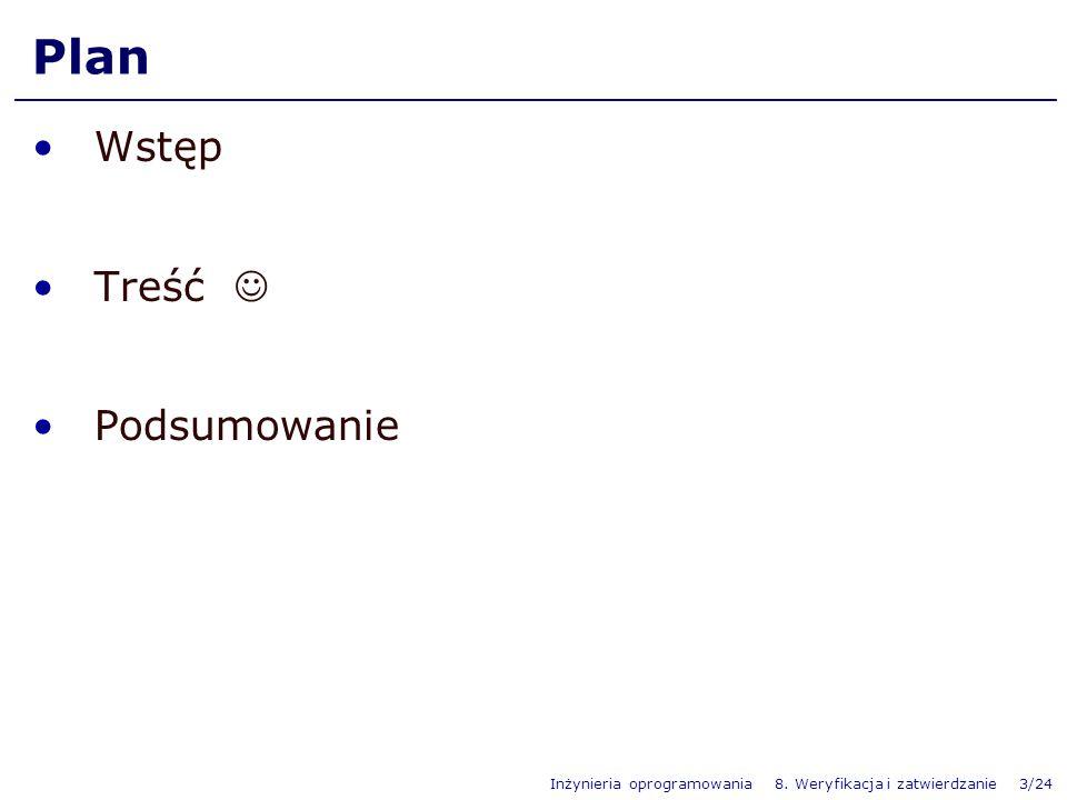 Inżynieria oprogramowania 8. Weryfikacja i zatwierdzanie 3/24 Plan Wstęp Treść Podsumowanie