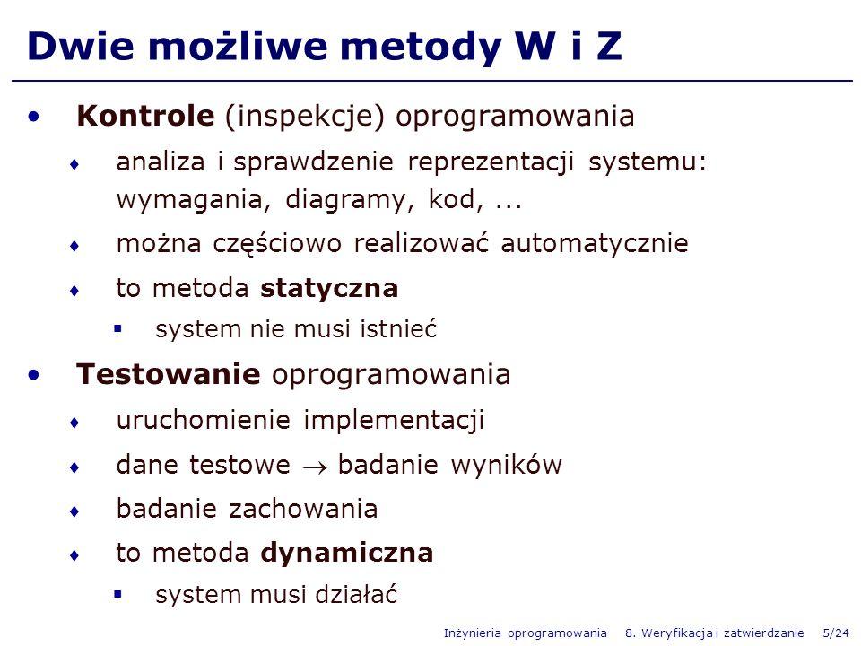 Inżynieria oprogramowania 8. Weryfikacja i zatwierdzanie 5/24 Dwie możliwe metody W i Z Kontrole (inspekcje) oprogramowania analiza i sprawdzenie repr