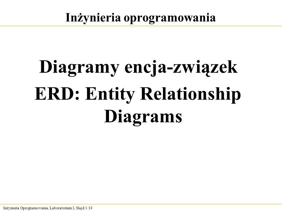 Inżynieria Oprogramowania, Laboratorium 3, Slajd 12/19 Atrybuty (2) Aby reprezentować atrybut, trzeba w ramkę przedstawiającą encję wpisać jego nazwę małymi literami i w liczbie pojedynczej.