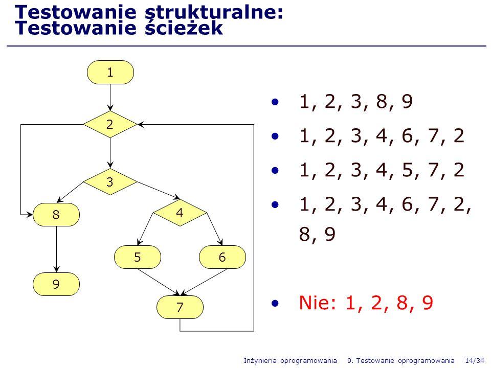 Inżynieria oprogramowania 9. Testowanie oprogramowania 14/34 Testowanie strukturalne: Testowanie ścieżek 1, 2, 3, 8, 9 1, 2, 3, 4, 6, 7, 2 1, 2, 3, 4,