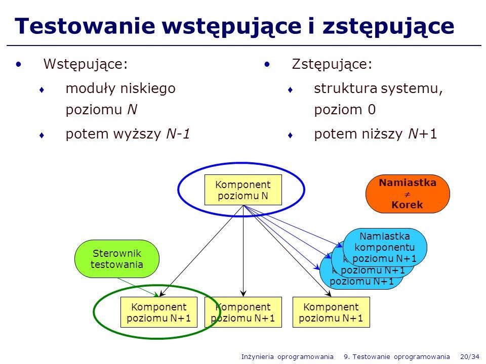Inżynieria oprogramowania 9. Testowanie oprogramowania 20/34 Testowanie wstępujące i zstępujące Wstępujące: moduły niskiego poziomu N potem wyższy N-1