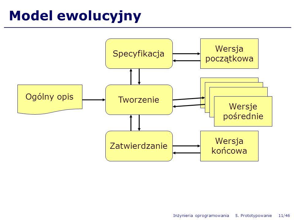 Inżynieria oprogramowania 5. Prototypowanie 11/46 Model ewolucyjny Wersja początkowa Tworzenie Specyfikacja Zatwierdzanie Ogólny opis Wersje pośrednie