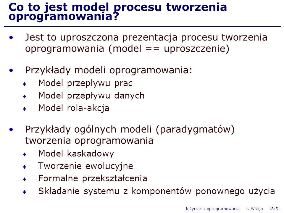 Inżynieria oprogramowania 1. Wstęp 18/51 Co to jest model procesu tworzenia oprogramowania? Jest to uproszczona prezentacja procesu tworzenia oprogram