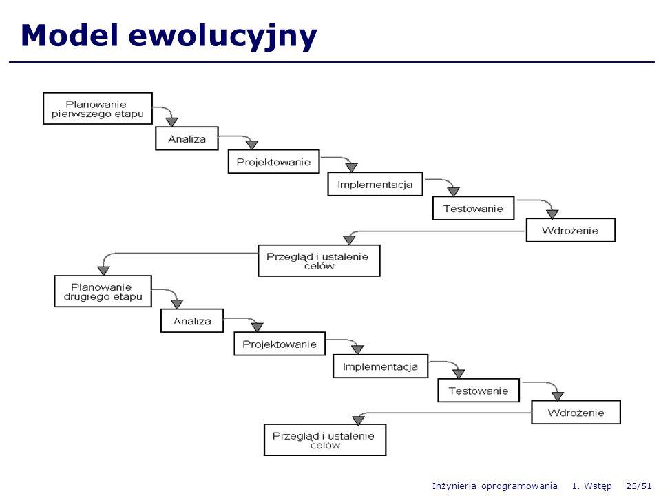 Inżynieria oprogramowania 1. Wstęp 25/51 Model ewolucyjny
