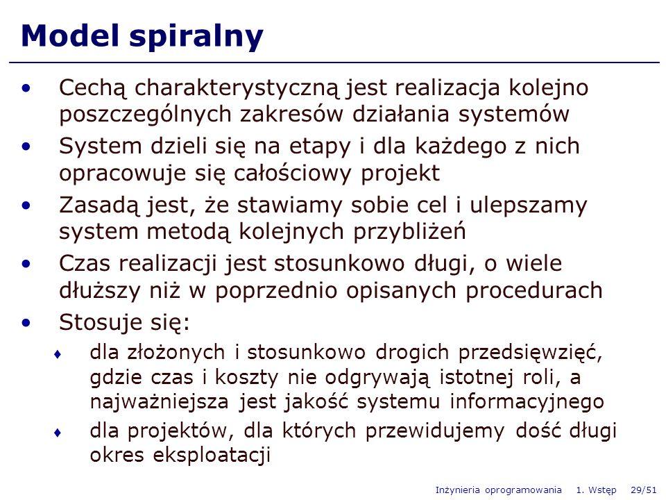 Inżynieria oprogramowania 1. Wstęp 29/51 Model spiralny Cechą charakterystyczną jest realizacja kolejno poszczególnych zakresów działania systemów Sys