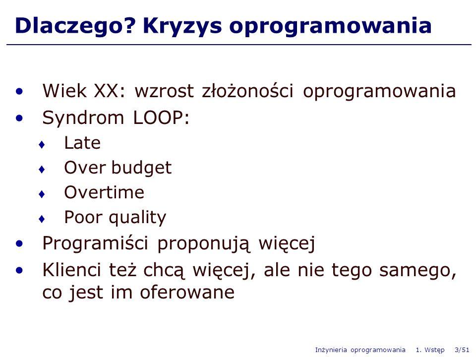 Inżynieria oprogramowania 1. Wstęp 3/51 Dlaczego? Kryzys oprogramowania Wiek XX: wzrost złożoności oprogramowania Syndrom LOOP: Late Over budget Overt