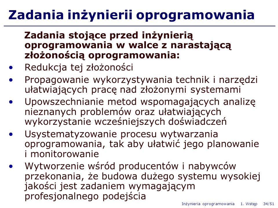 Inżynieria oprogramowania 1. Wstęp 34/51 Zadania inżynierii oprogramowania Zadania stojące przed inżynierią oprogramowania w walce z narastającą złożo