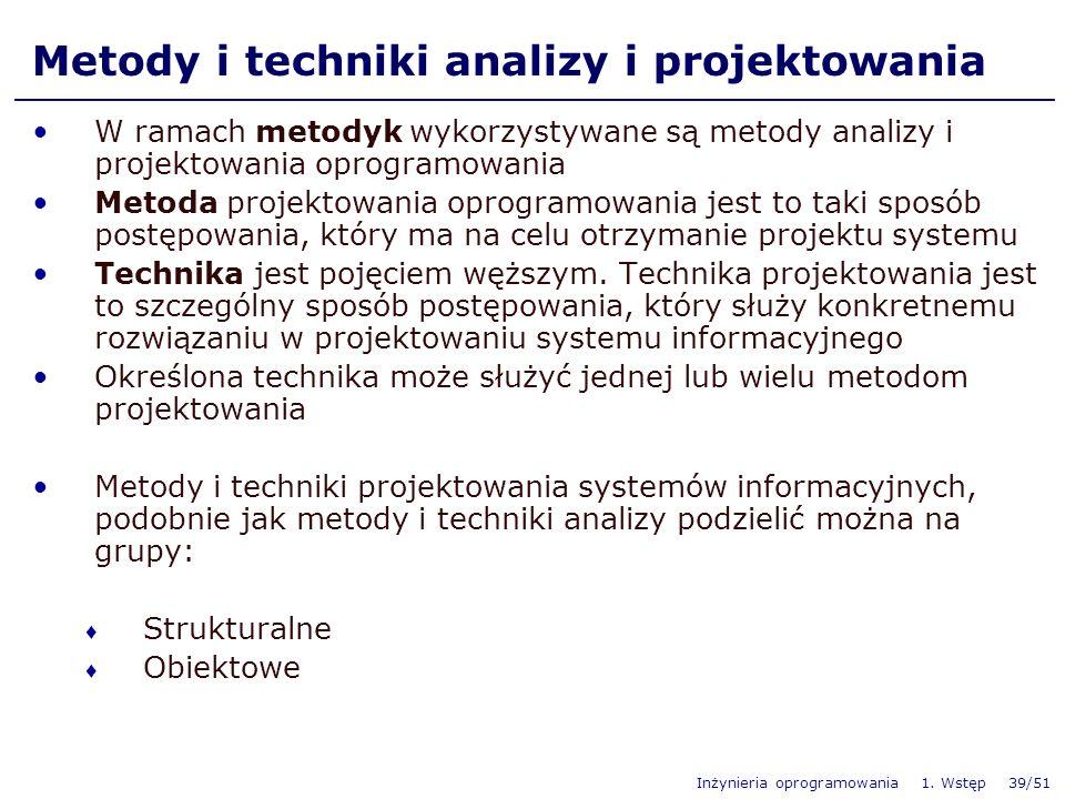 Inżynieria oprogramowania 1. Wstęp 39/51 Metody i techniki analizy i projektowania W ramach metodyk wykorzystywane są metody analizy i projektowania o