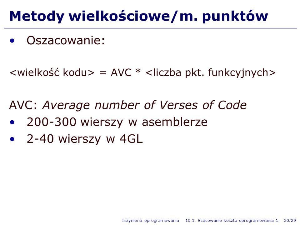 Inżynieria oprogramowania 10.1. Szacowanie kosztu oprogramowania 1 20/29 Metody wielkościowe/m. punktów Oszacowanie: = AVC * AVC: Average number of Ve